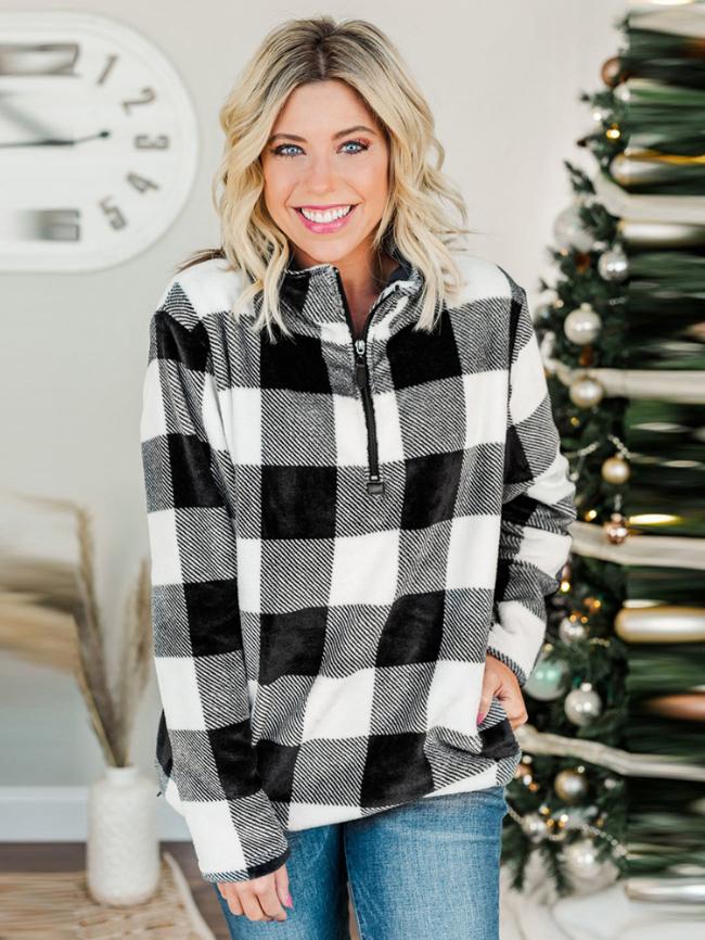 Zipper stand-collar plaid sweater