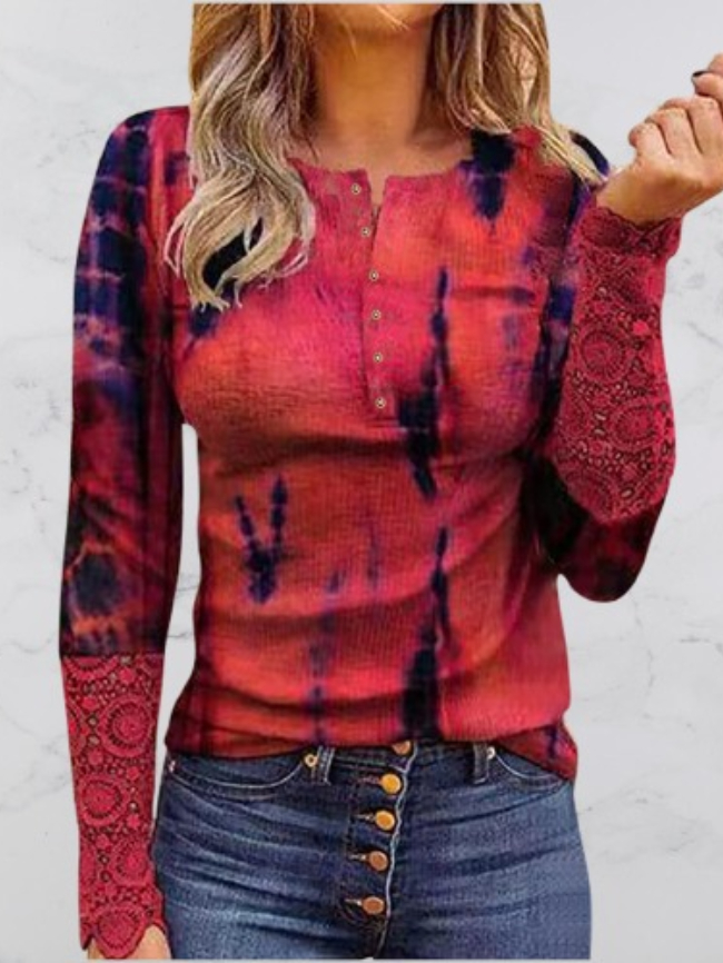 Round neck camouflage lace ladies long sleevesRound neck camouflage lace ladies long sleeves