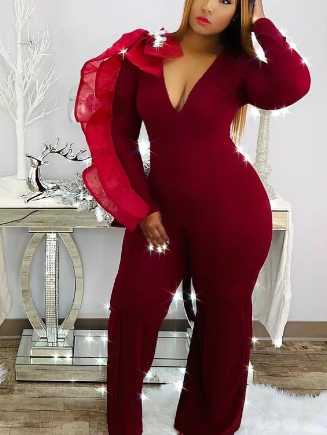 Sexy V-neck straight wide-leg jumpsuit