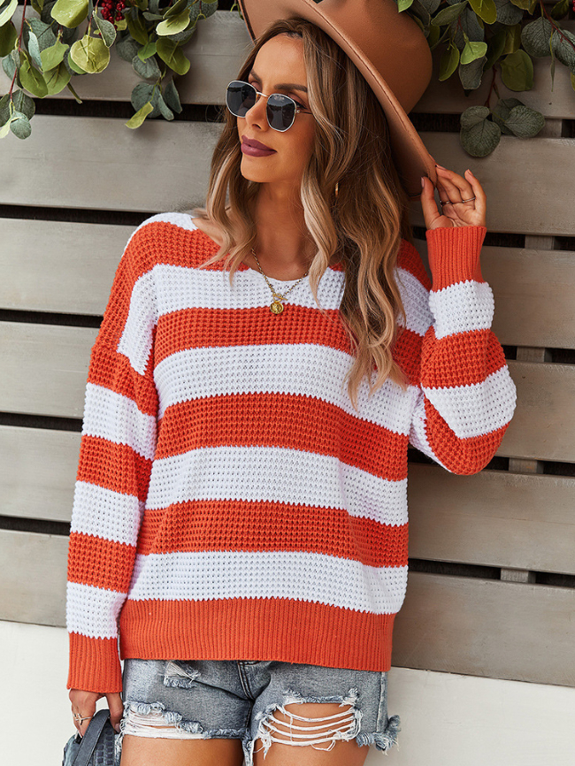 Striped long-sleeved warm sweater