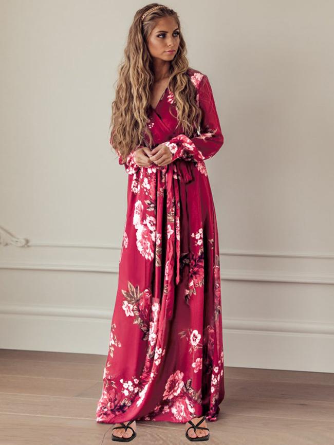Floral V-neck Long Sleeve Dress