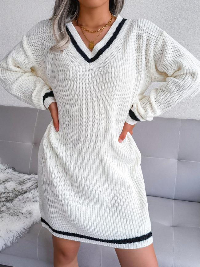 V-neck college knit dress