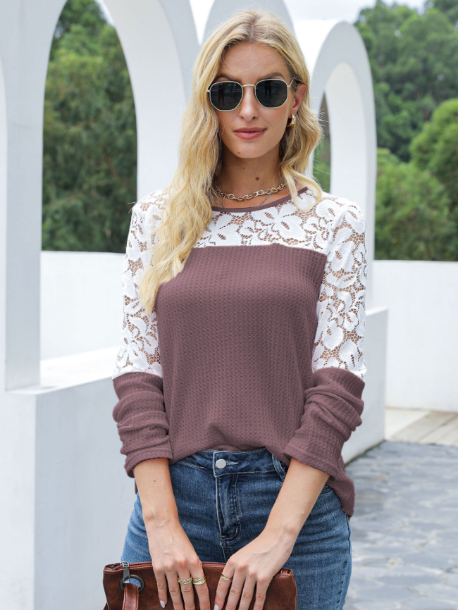 Solid color stitching lace top