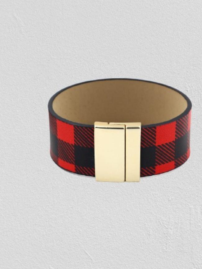 Check wide PU leather bracelet