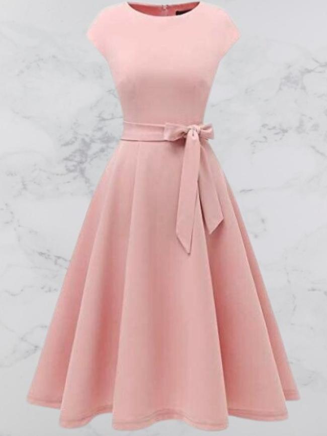 Butterfly belt long sleeveless dress
