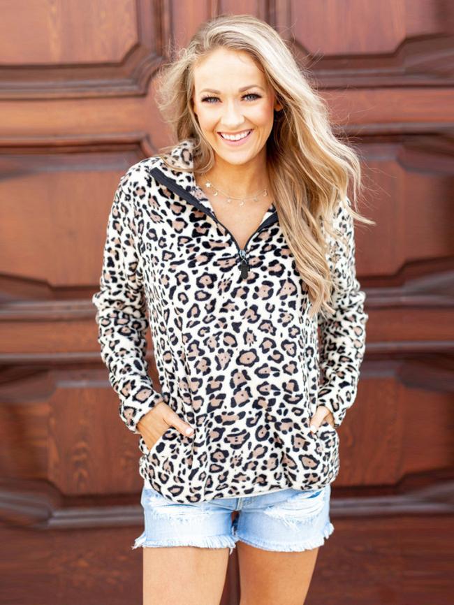 Leopard zipper stand-up collar sweatshirt