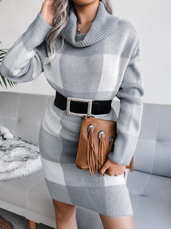 Plaid high neck knitted dress