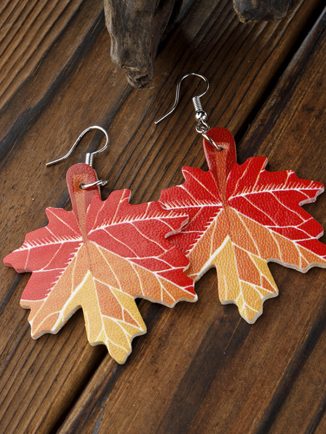 Maple Leaf Shape Thanksgiving Holiday Leather Earrings