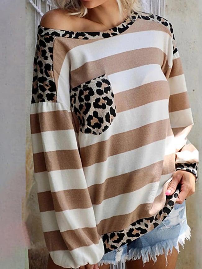 Striped print stitching leopard print pocket top