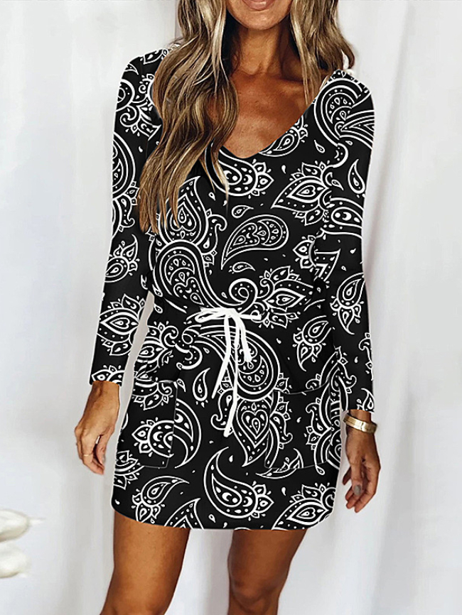 Sexy lace-up dress with printed V-neck pockets