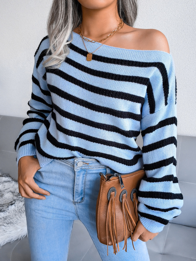 One-neck striped knitted sweater