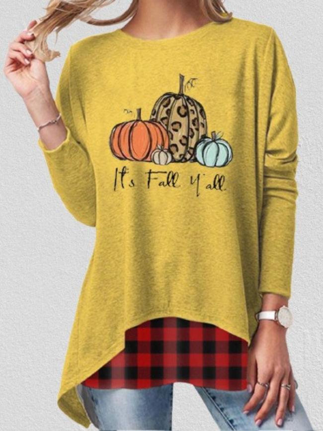 Pumpkin print long sleeve top