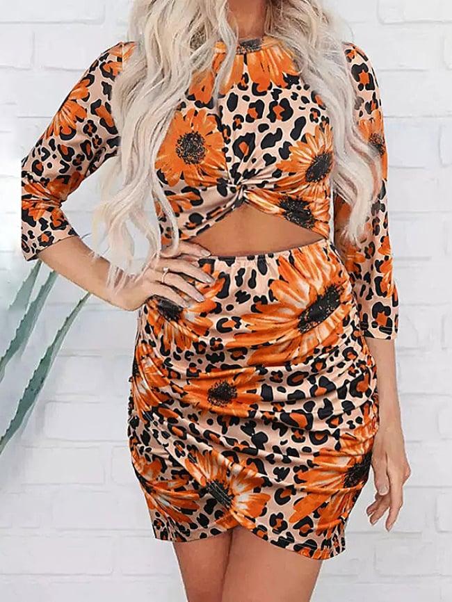 Cutout Twisted Ruffled Skinny Mini Dress