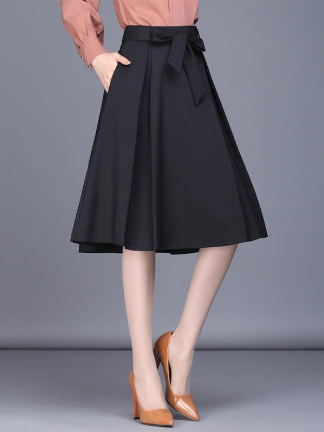 High waist bow pleated midi skirt