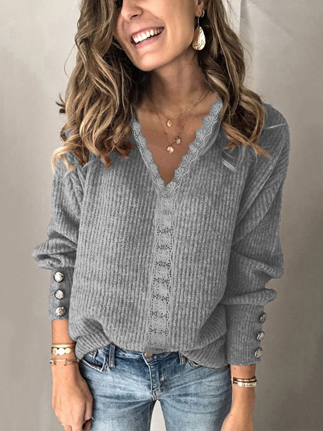 Lace V-neck Loose Long Sleeve Jacket