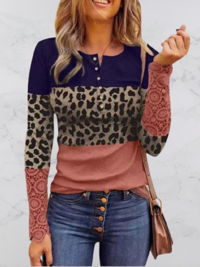 Round neck camouflage lace ladies long sleeves