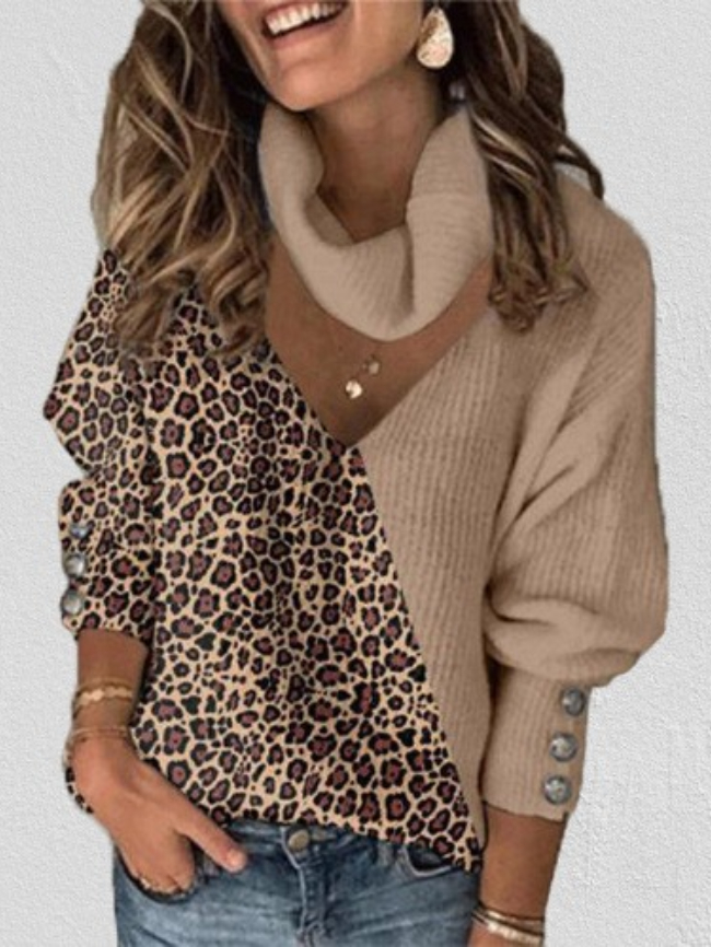 Leopard print color block scarf knitted top