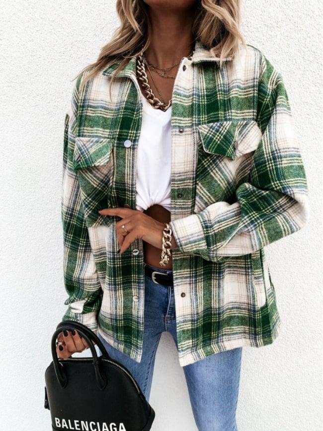 Loose casual retro check long-sleeved jacket