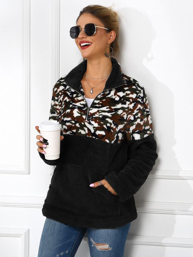 Lapel Leopard Panel Sweatshirt