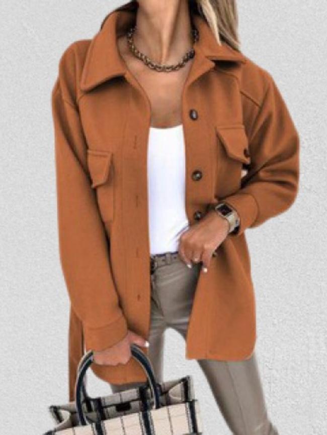 Pocket Button Turn-down Collar Coat