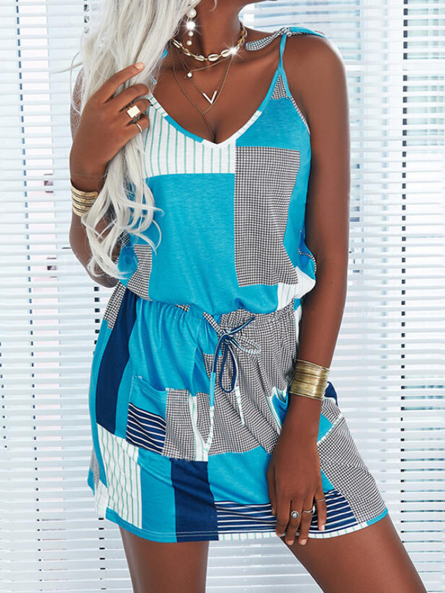 Printed suspender drawstring casual dress