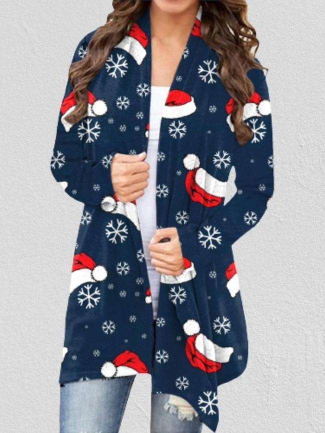 Christmas print long sleeve cardigan