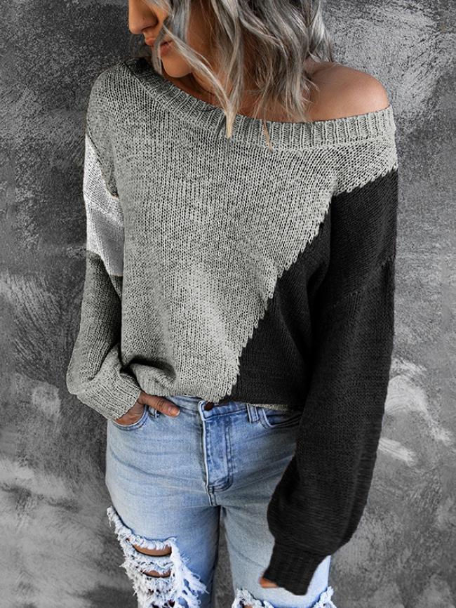Color block off-shoulder knitting sweater