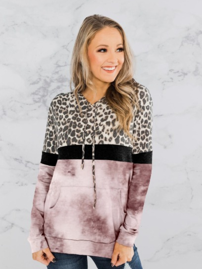 Leopard print tie-dye pocket hoodie
