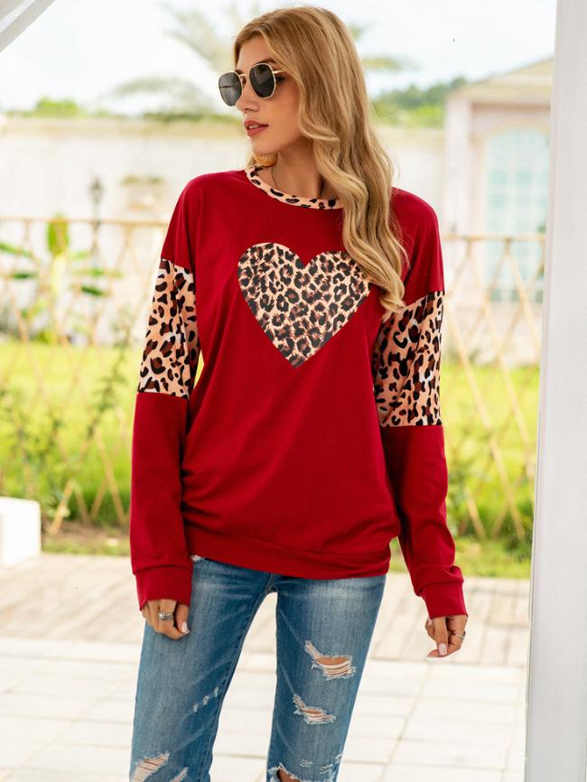 Leopard print love round neck long sleeve shirt