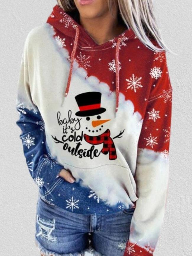 Christmas Snowman Print Hooded Sweatshirt