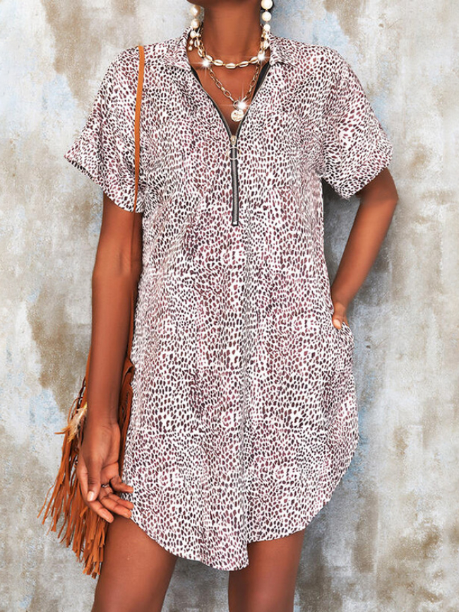 Printed short sleeve zipper loose casual dress