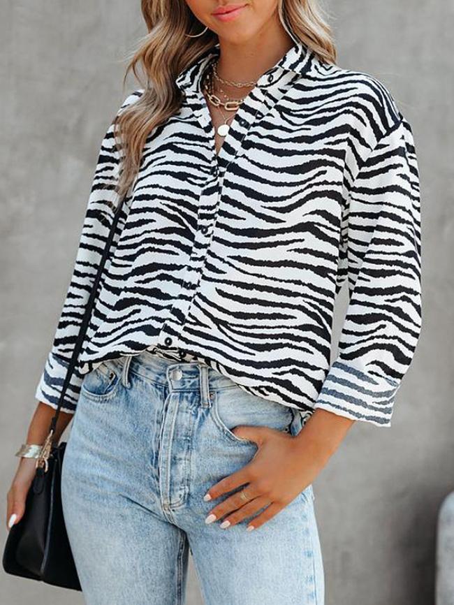 Fashion printed cardigan single-breasted shirt