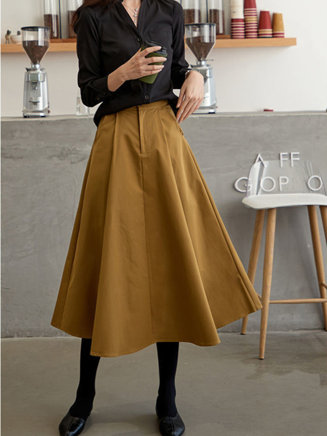 Retro loose solid color pleated skirt