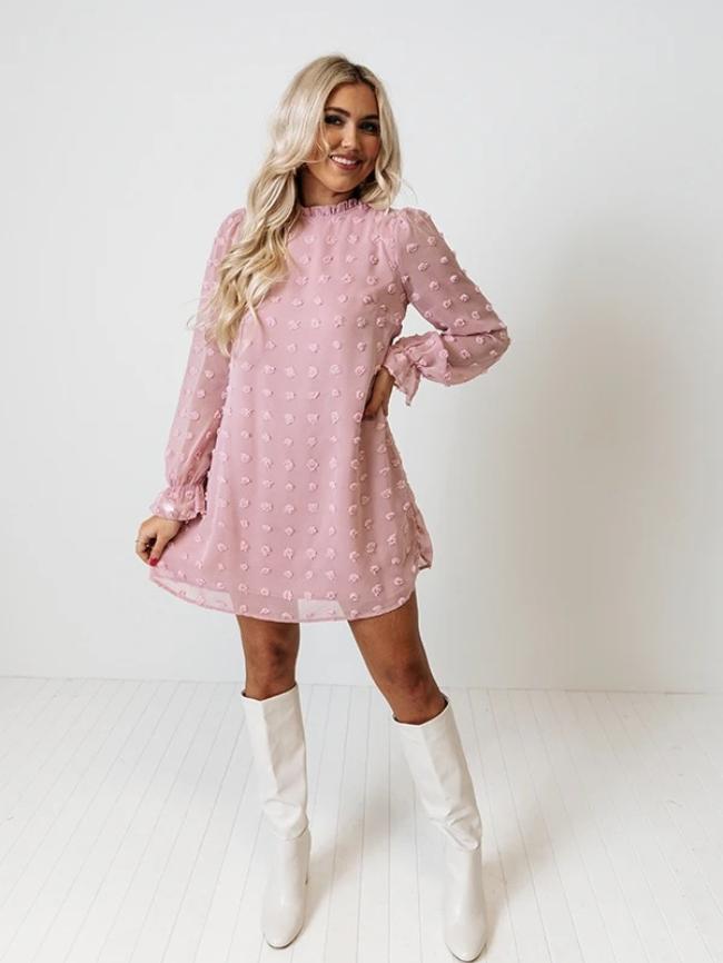 Bubble long sleeve jacquard dress
