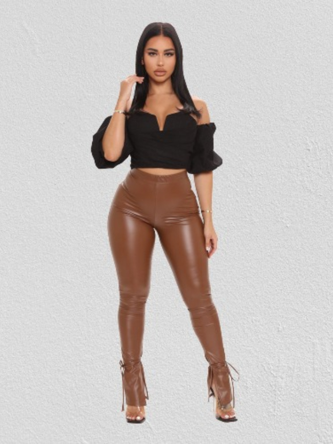 Micro flared skinny leather trousers