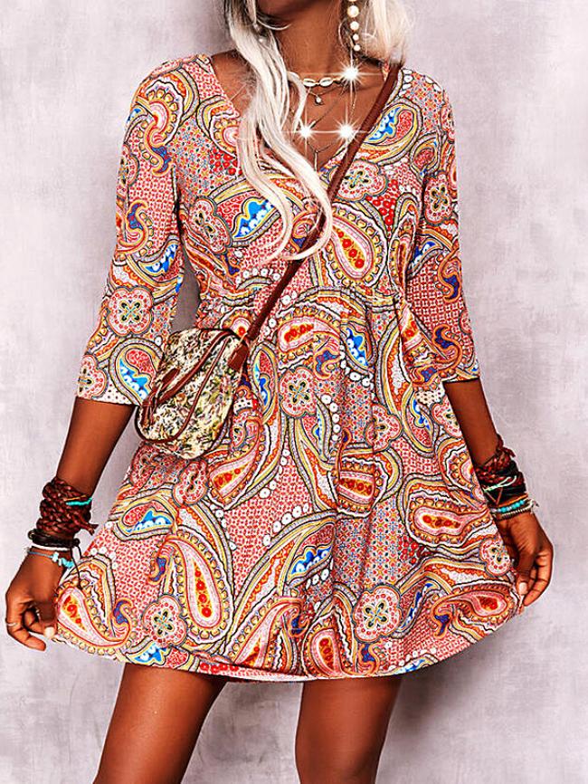 Printed V-neck Long Sleeve Casual Dress