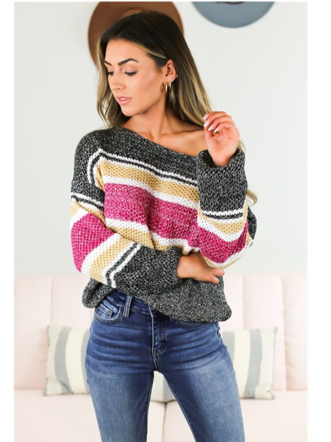 Stitching contrast off-the-shoulder sweater