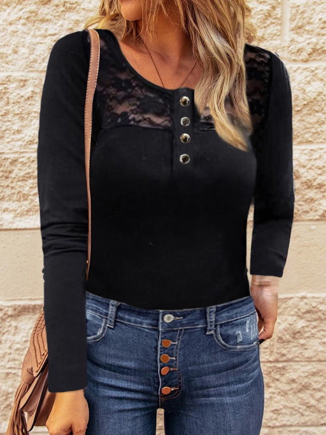 Paneled lace long-sleeved top