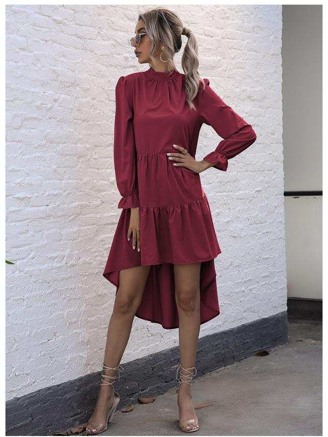 high collar irregular dress