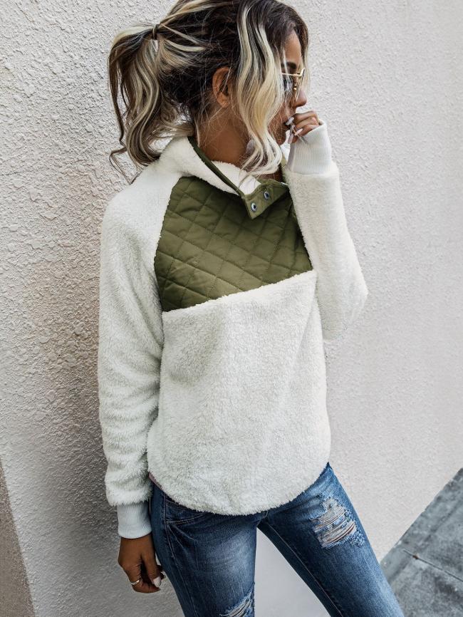 Fleece Oblique Button Neck Sweatshirt