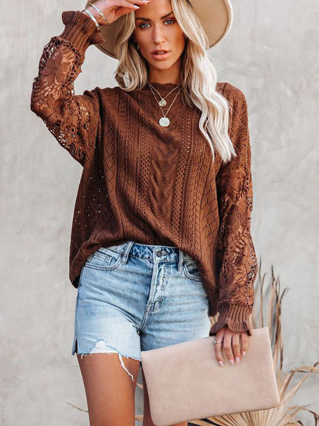 Round Neck Hollow Long Sleeve Sweater