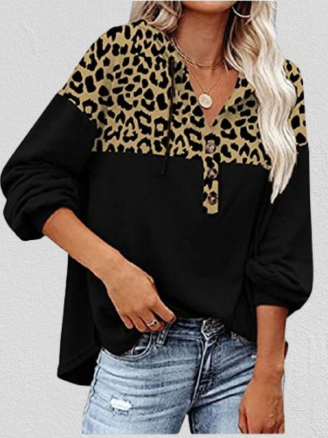 Printed stitching fleece sweatshirt