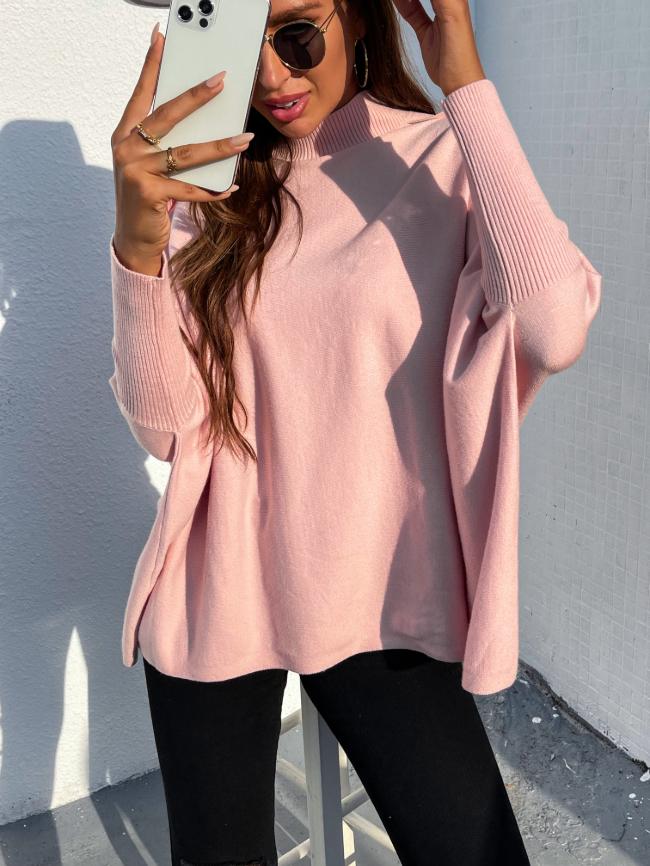 Bat Sleeve Shoulder Button Turtleneck Sweater