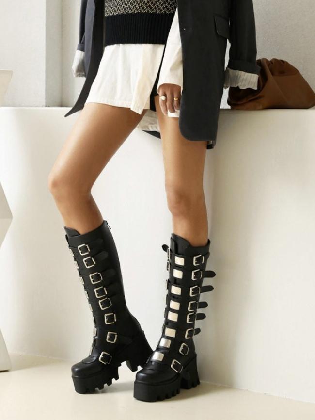 Belt Buckle Rear Zipper High Boots