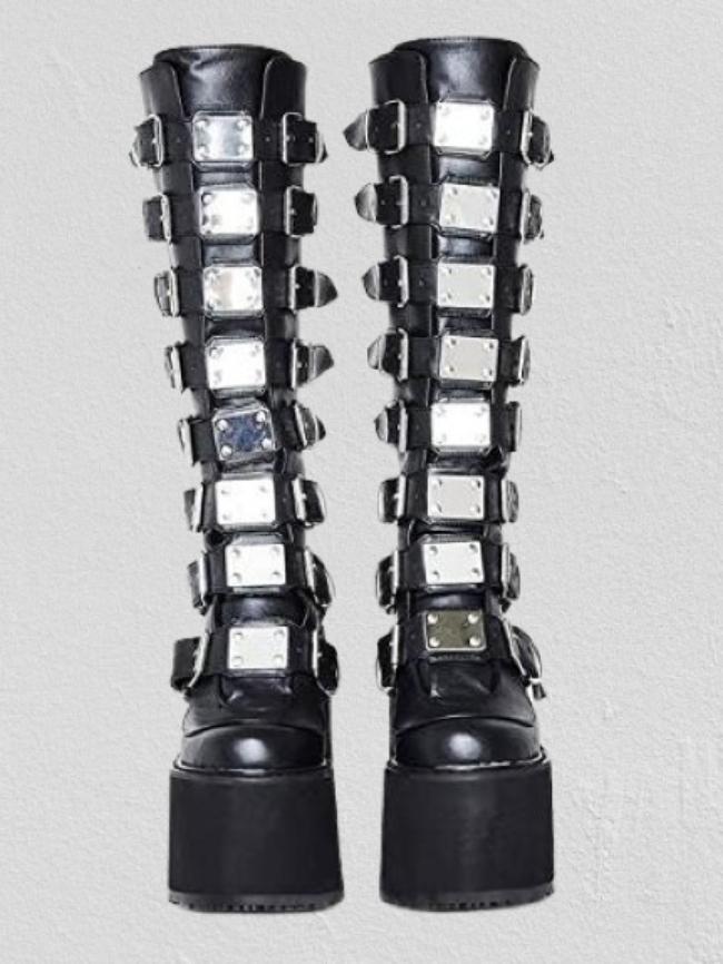 Black Belt Buckle Rear Zipper Boots