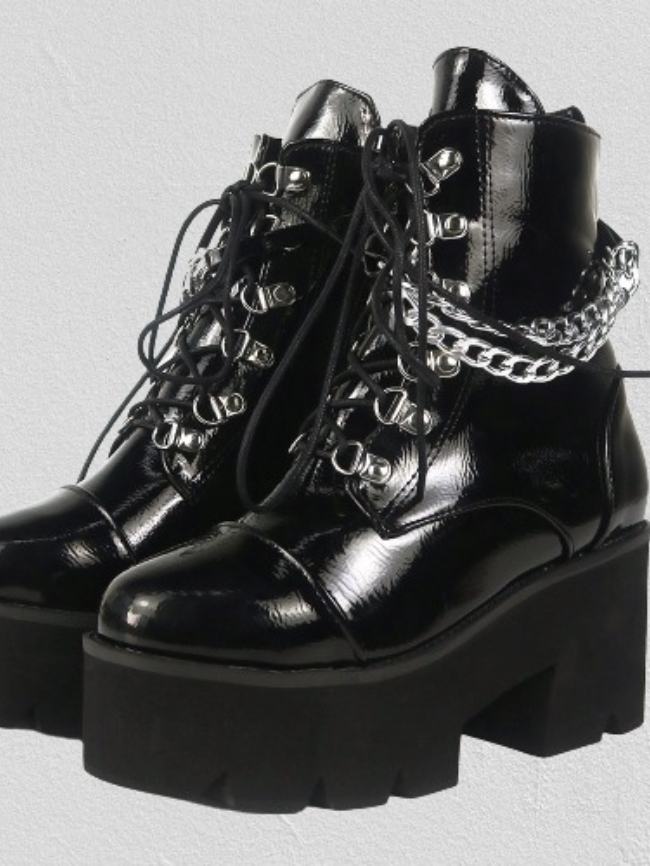 Black Lace-up Chain Martin Boot