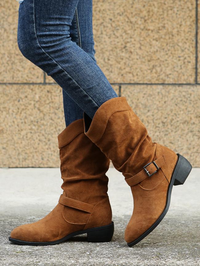 Buckle Decor Block Heeled Boots