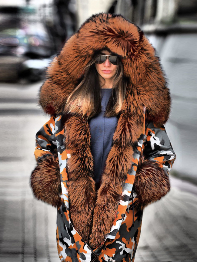 Camo Printed Midi Fur Collar Hooded Coat