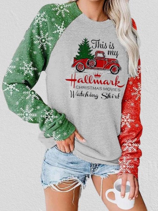 Christmas Car Tree Printed Sweatshirt