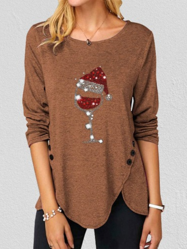 Christmas Printed Button Long Sleeve Tee